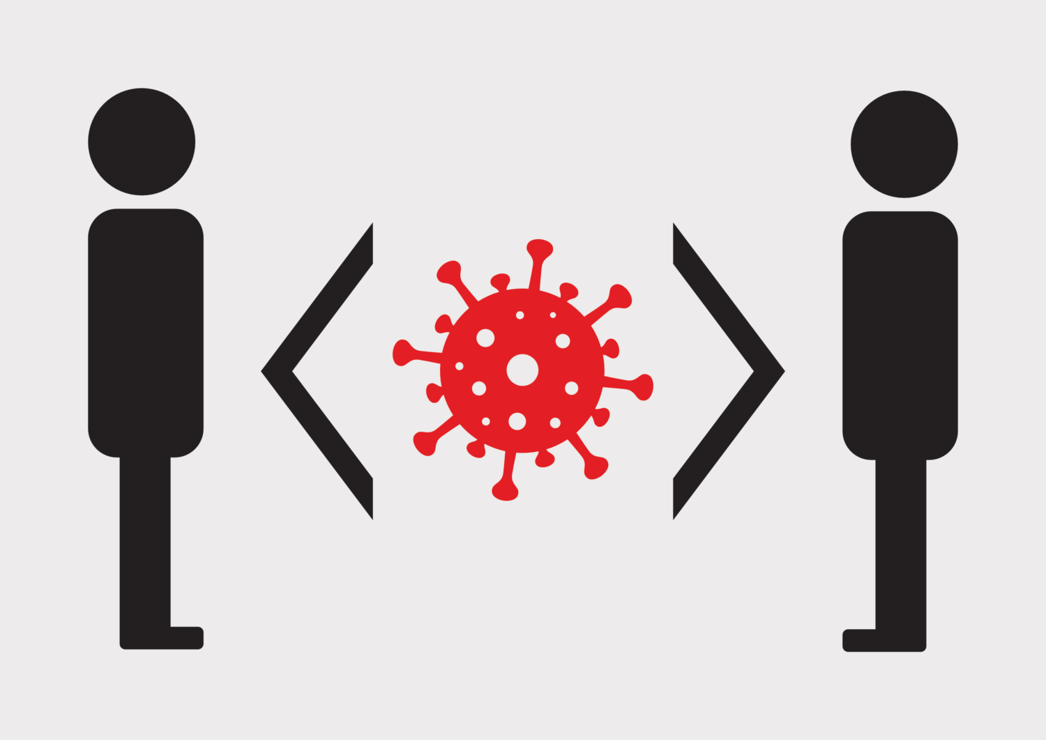 Free image from iXimus.de: social distance, black-and-white, Coronavirus, red, #000156