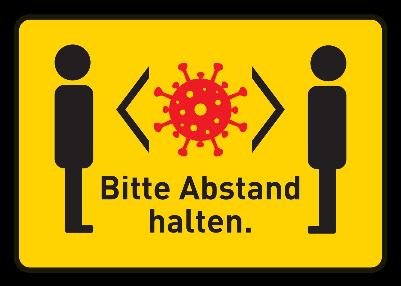 "Free image from iXimus.de: Gelbes Corona-Schild ""Bitte Abstand halten"" Coronavirus, Corona, Covid-19, Virus, SARS-CoV-2, #000159"