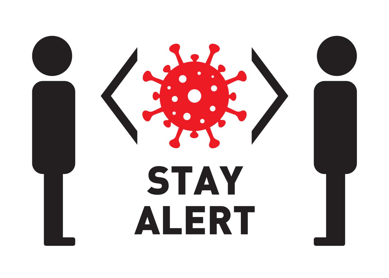 "Free image from iXimus.de: Weißes Corona-Schild ""STAY ALERT"" Coronavirus, Corona, Covid-19, Virus, SARS-CoV-2, #000160"