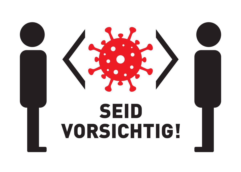 "Free image from iXimus.de: Weißes Corona-Schild ""SEID VORSICHTIG"" Coronavirus, Corona, Covid-19, Virus, SARS-CoV-2, #000161"