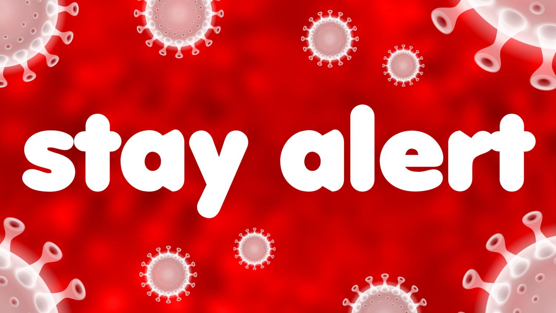 Free image from iXimus.de: STAY ALERT auf roten Hintergrund, mit weißem Coronavirus, Corona, Covid-19, Virus, SARS-CoV-2, #000163