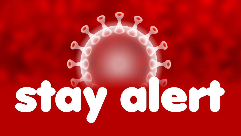 Free image from iXimus.de: STAY ALERT auf roten Hintergrund, mit weißem Coronavirus, Corona, Covid-19, Virus, SARS-CoV-2, #000166
