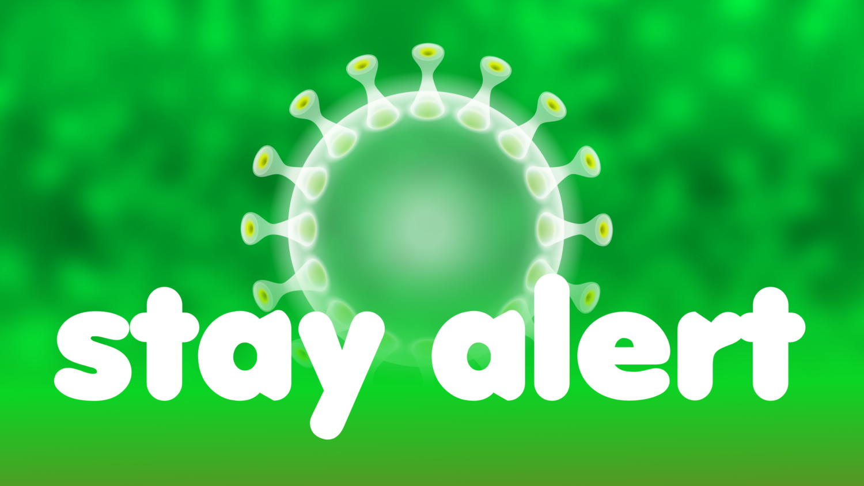 Free image from iXimus.de: STAY ALERT auf grünem Hintergrund, mit weißem Coronavirus, Corona, Covid-19, Virus, SARS-CoV-2, #000167