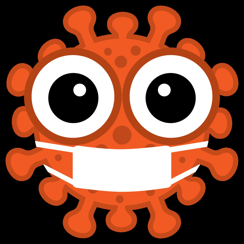 Gratis Download von iXimus.de: Coronavirus, orange mit Mundschutz/Atemmaske, Kontur extra fett, Corona, Covid-19, Virus, SARS-CoV-2, freigestellt, Vektor-Datei, #000173