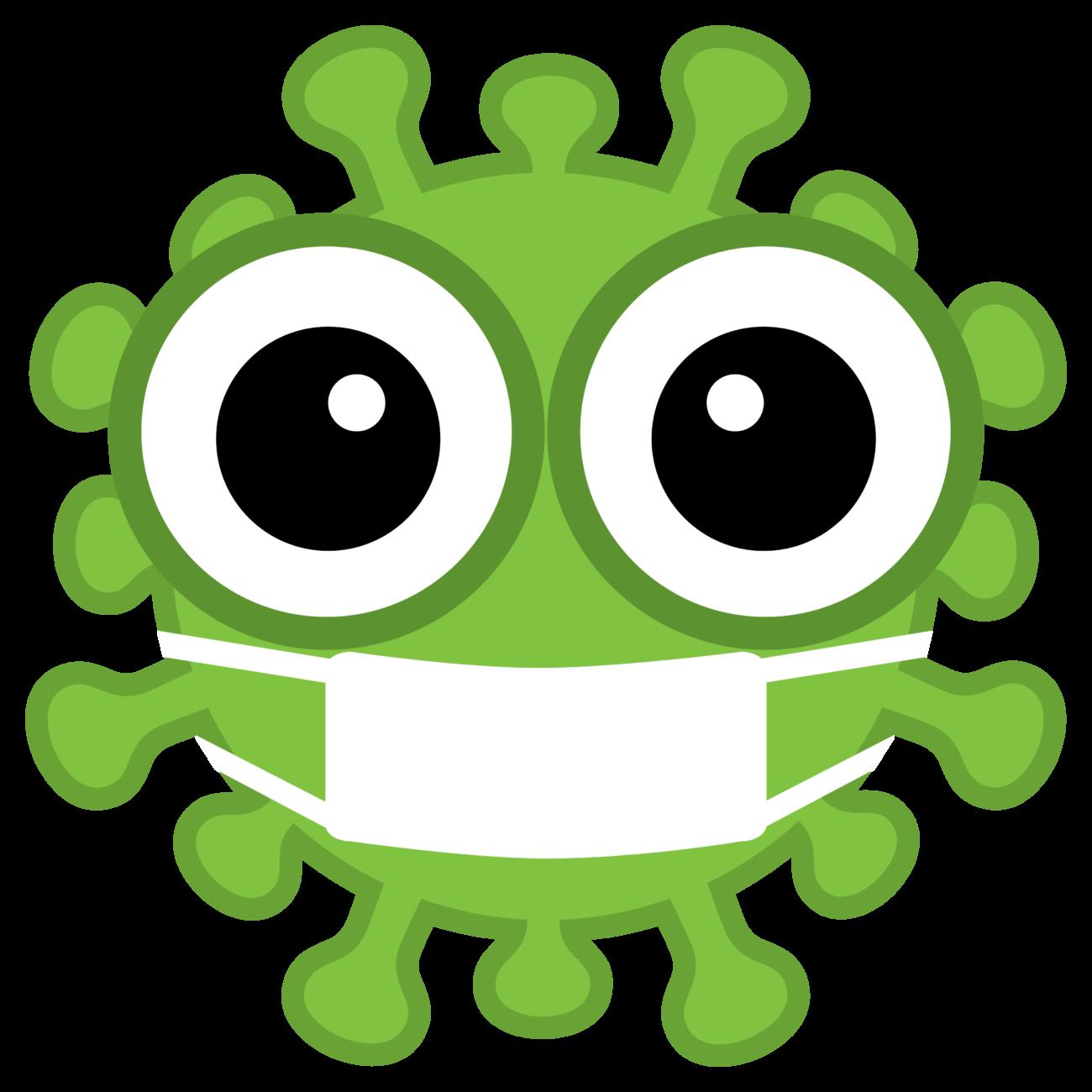 Gratis Download von iXimus.de: Coronavirus, grün, Kotur extra-fett, mit Mundschutz/Atemmaske, Corona, Covid-19, Virus, SARS-CoV-2, freigestellt, Vektor-Datei, #000177