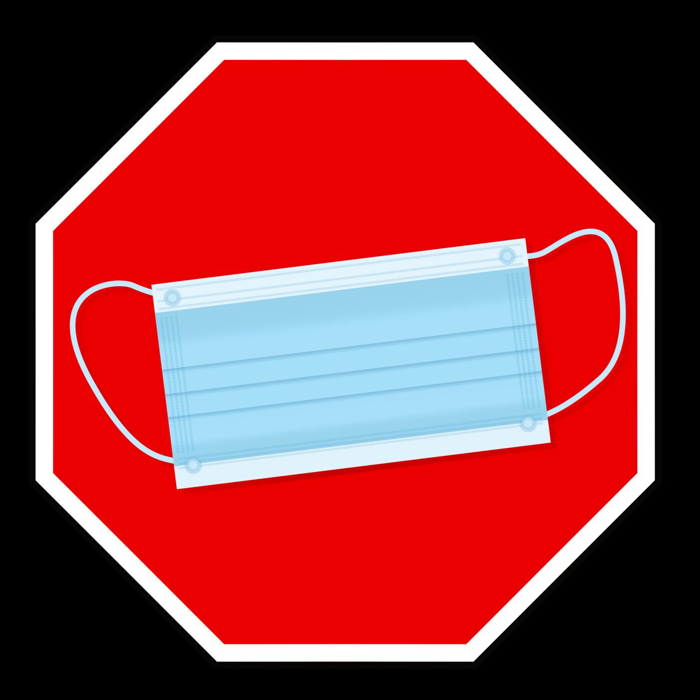 Gratis Download von iXimus.de: Maskenpflicht, Stoppschild, Mundschutz, Atemmaske, Corona, Covid-19, Virus, SARS-CoV-2, freigestellt, Vektor-Datei, #000179