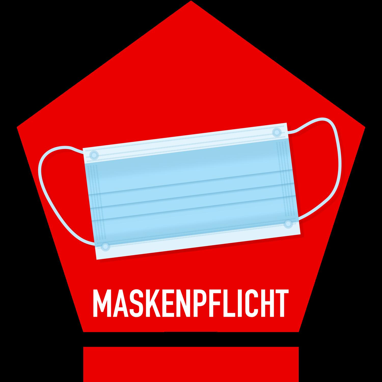 Gratis Download von iXimus.de: Maskenpflicht, rotes Schild, Mundschutz, Atemmaske, Corona, Covid-19, Virus, SARS-CoV-2, freigestellt, Vektor-Datei, #000180