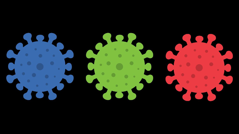 Gratis Download von iXimus.de: Coronavirus, Virus, Covid-19, Sars-Cov-2, Symbol, Icon, blau, grün, rot, freigestellt, Vektor-Datei, #000181
