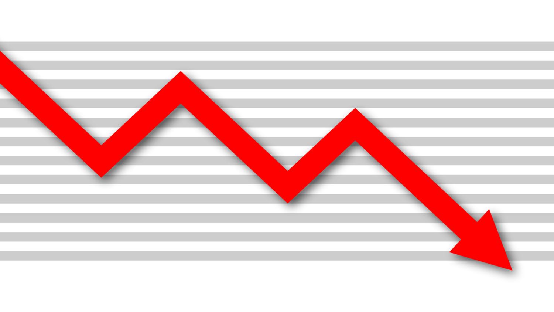 Gratis Download von iXimus.de: Diagramm, Krise, Kurve, abwärts, Verlust, Wirtschaft, Finanzen, Arbeitsplätze, rot, weiß, #000183