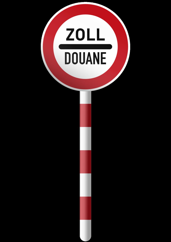 Gratis Download von iXimus.de: Zoll Douane, Schild mit Pfahl, freigestellt, Vektor-Datei, #000196