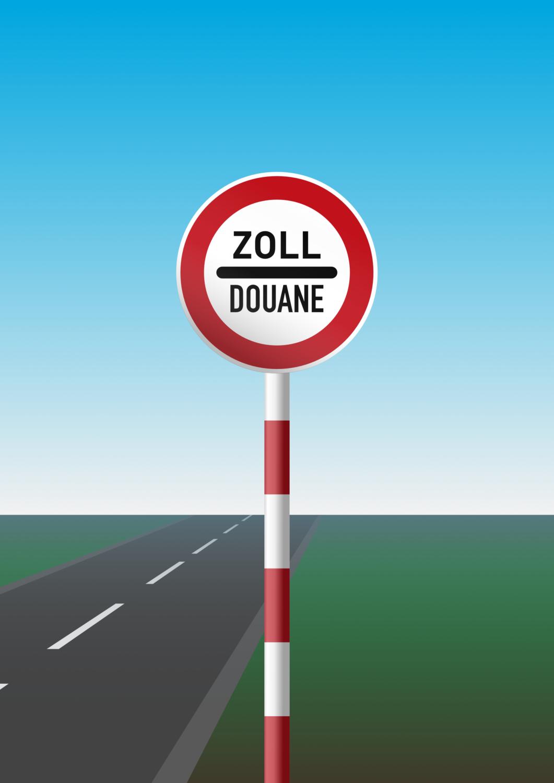 Gratis Download von iXimus.de: Zoll Douane, Schild mit Pfahl, Grenze, Straße mit Landschaft, Vektor-Datei, #000197