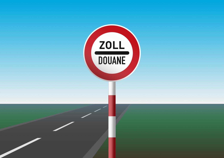 Gratis Download von iXimus.de: Zoll Douane, Schild mit Pfahl, Grenze, Straße mit Landschaft, Vektor-Datei, #000198