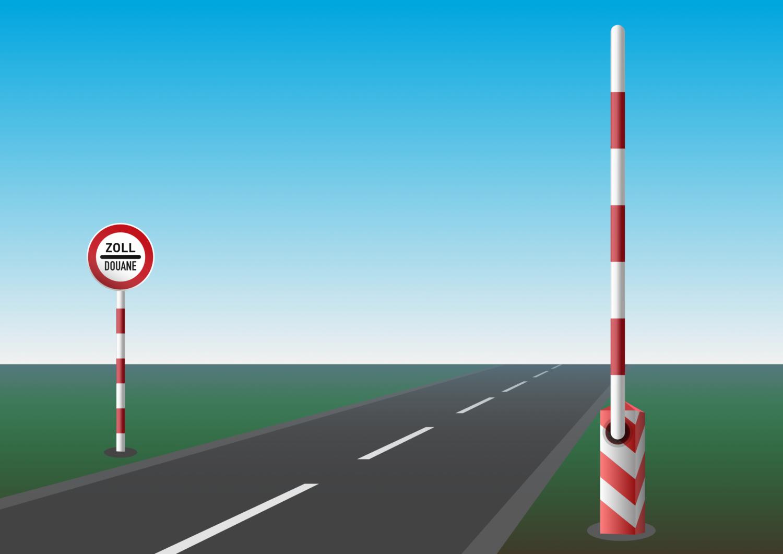 Gratis Download von iXimus.de: Zoll Douane, Schranke, offen, Schlagbaum, Schild, Grenzübergang, Grenze, Grenzschließung, Grenzöffnung, Landschaft, Straße, Vektor-Datei, #000199