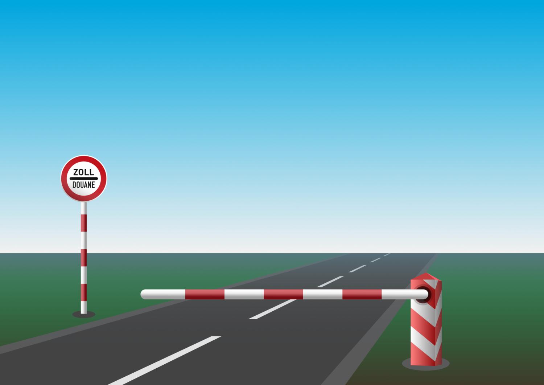 Gratis Download von iXimus.de: Zoll Douane, Schranke, geschlossen, Schlagbaum, Schild, Grenzübergang, Grenze, Grenzschließung, Grenzöffnung, Landschaft, Straße, Vektor-Datei, #000200
