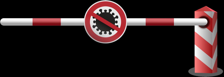 Gratis Download von iXimus.de: Schranke, rechts, Schlagbaum, Corona, Virus, Covid-19, Schild, Grenzübergang, Grenze, Grenzschließung, Vektor-Datei, #000207