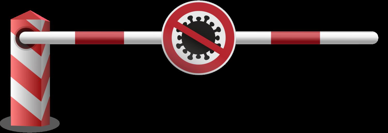 Gratis Download von iXimus.de: Schranke, links, Schlagbaum, Corona, Virus, Covid-19, Schild, Grenzübergang, Grenze, Grenzschließung, Vektor-Datei, #000208