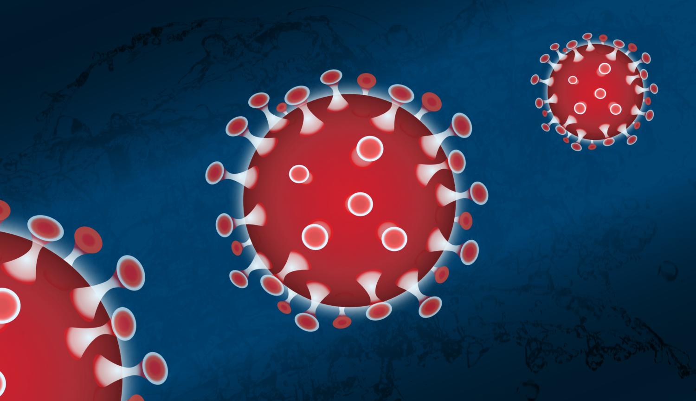 Gratis Download von iXimus.de: Coronavirus rot, Hintergrund blau, Symbol, Corona, Virus, Covid-19, Sars-Cov-2, #000214