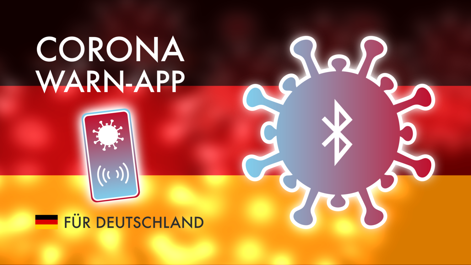 Gratis Download von iXimus.de: Corona-Warn-App, iOS, Adroid, Deutschland, Covid-19, Corona, Application, Deutschland-Flagge, #000230