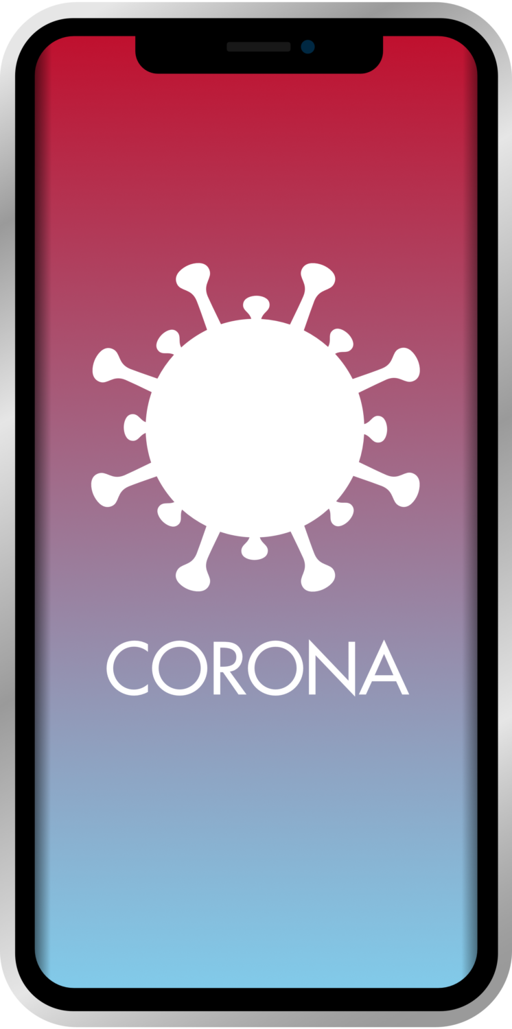 Gratis Download von iXimus.de: Smartphone, iPhone, Corona-App, Corona-Warn-App, iOS, Adroid, Deutschland, Covid-19, Corona, Application, transparenter Hintergrund, #000244