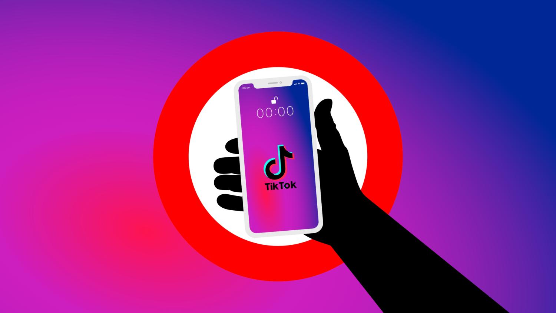 Gratis Download von iXimus.de: Symbolbild Verbot TikTok App, Smartphone weiß, iPhone, weiß, schwarze Hand, #000291-5