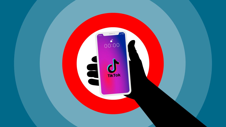 Gratis Download von iXimus.de: Symbolbild Verbot TikTok App, Smartphone weiß, iPhone, weiß, schwarze Hand, #000291-6