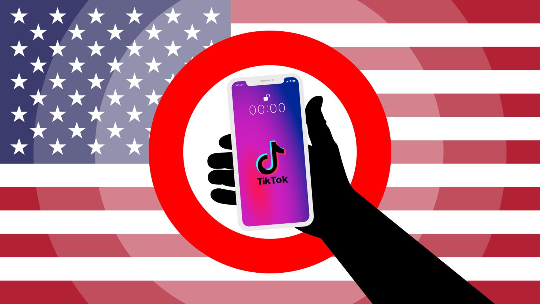 Gratis Download von iXimus.de: Symbolbild Verbot TikTok App, USA, Smartphone weiß, iPhone, weiß, schwarze Hand, #000291-7