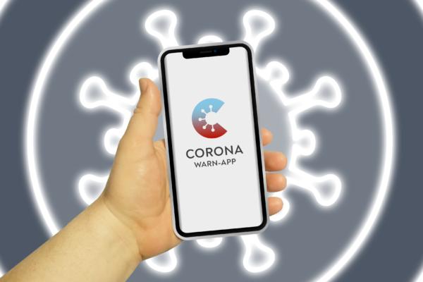 Gratis Download von iXimus.de: Corona-Warn-App, Smartphone, iPhone, Corona-App, Hintergrund Neon-Virus, #000295