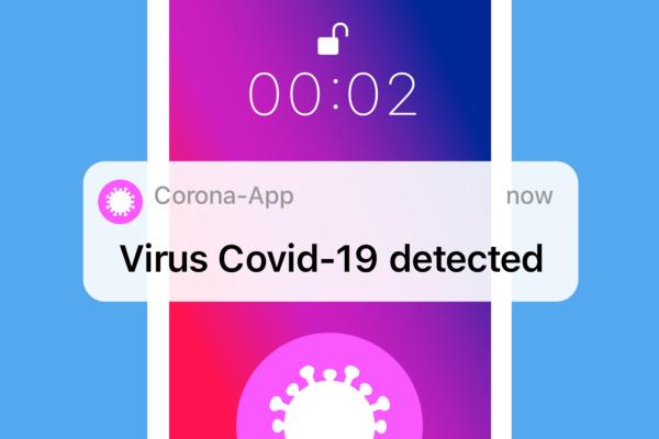Gratis Download von iXimus.de: Virus erkannt, Corona-App, Corona-Warn-App, Smartphone, iPhone, weiß, Symbol, #000318