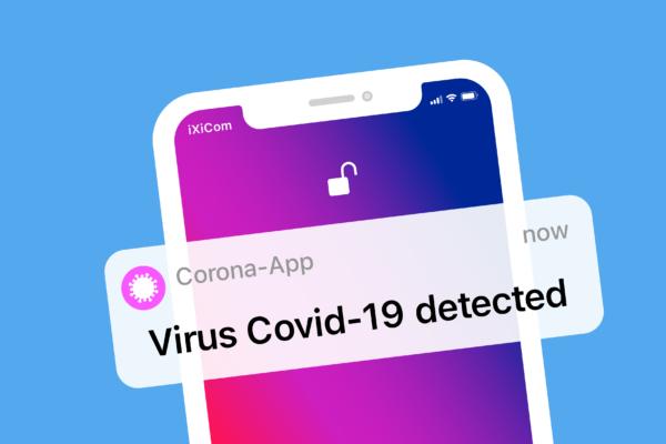 Gratis Download von iXimus.de: Virus erkannt, Corona-App, Corona-Warn-App, Smartphone, iPhone, weiß, Symbol, #000321