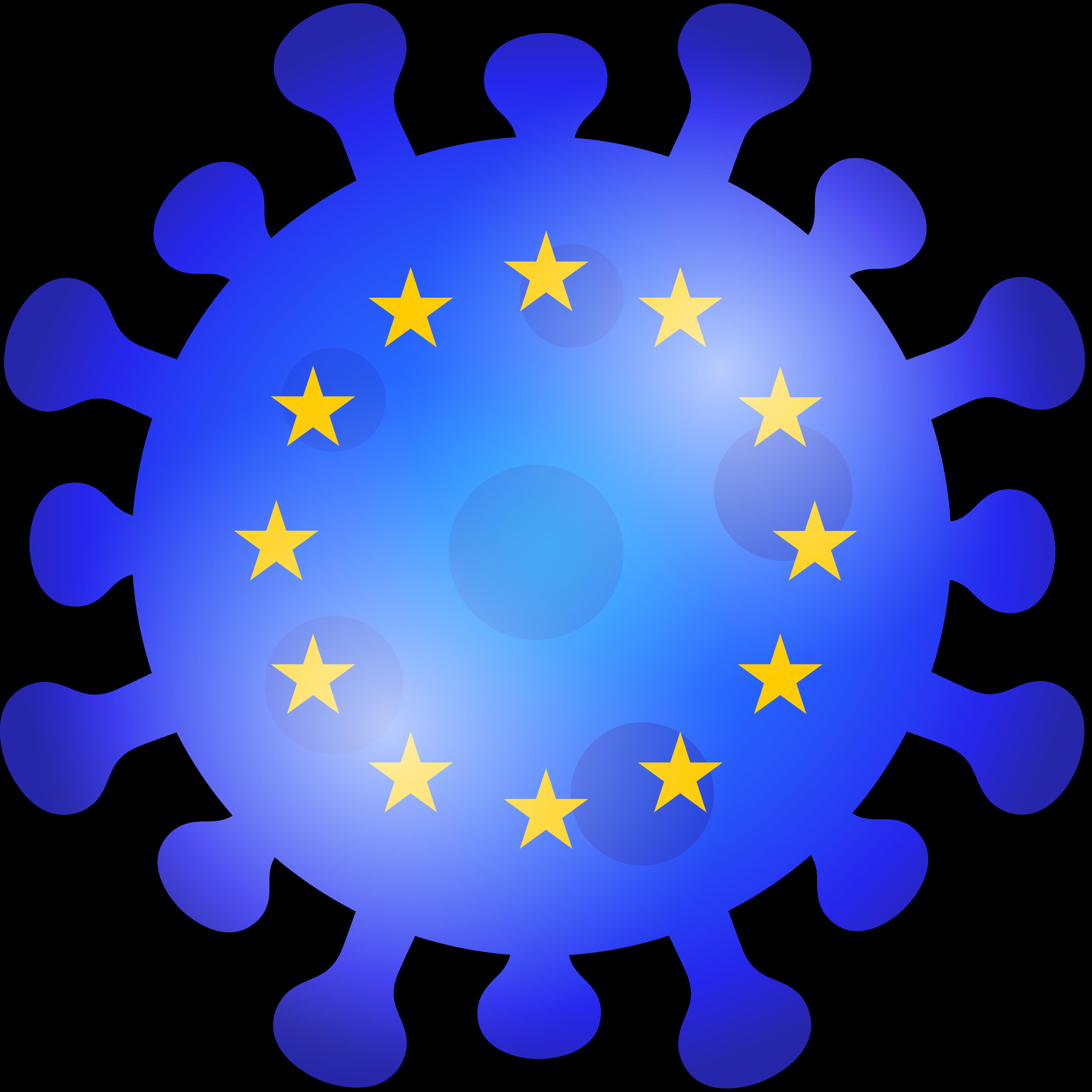 Gratis Download von iXimus.de: Europa Corona-Virus, Icon, 3D, blau, Symbolbild, freigestellt, #000324