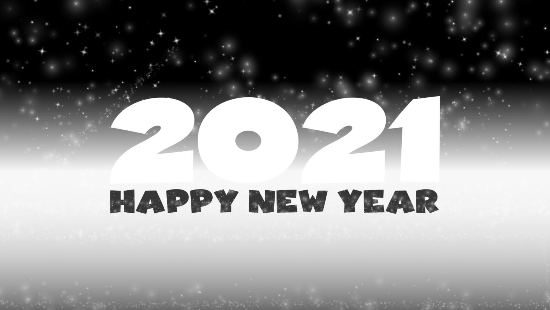 Download von iXimus.de: Grafik Jahreswechsel 2021, glückliches neues Jahr, guten Rutsch, Silvester, Neujahr, schwarz-weiß, gespiegelt, #000417