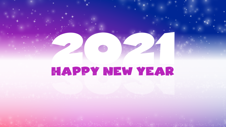 Download von iXimus.de: Grafik Jahreswechsel 2021, glückliches neues Jahr, guten Rutsch, Silvester, Neujahr, lila, gespiegelt, #000418