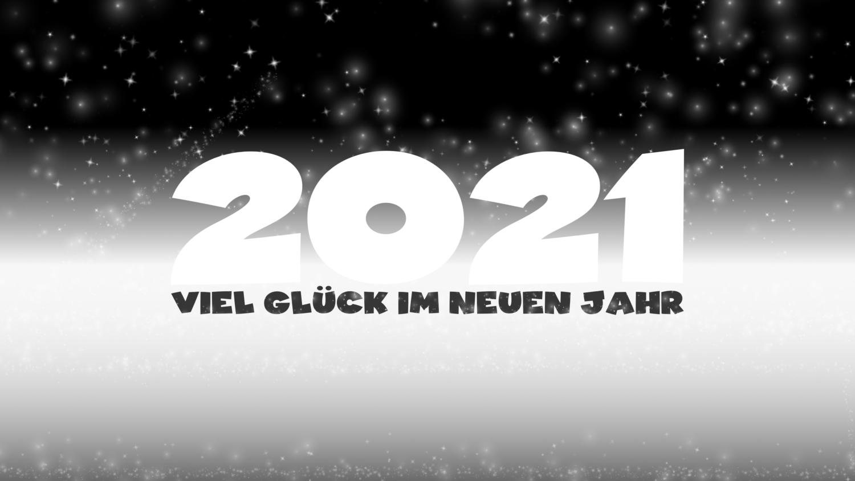Download von iXimus.de: Grafik Jahreswechsel 2021, Viel Glück im neuen Jahr, guten Rutsch, Silvester, Neujahr, schwarz-weiß, #000420