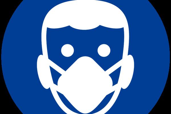 Grafik-Gratis-Download: Kopf von vorne, mit Maske, Atemmaske, Gesichtsmaske, Masken-Symbol, Maskenpflicht, Mund-Nasen-Schutz, blau, #000614